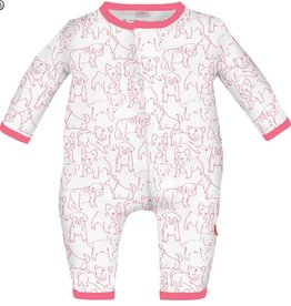 Magnificent Baby Pink Puppies Modal Coveralls