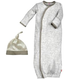 Magnificent Baby Grey Puppies Modal Gown+Hat NB-3M