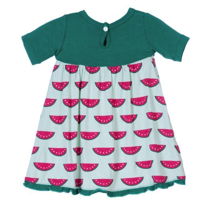 Kickee Pants Print Short Sleeve Swing Dress with Keyhole & Button Closure