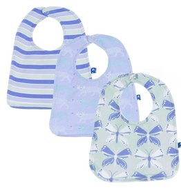 Kickee Pants Bib Set (Set of 3) (Lilac Leopard, Girl Tropical Stripe & Aloe Butterfly - One Size)