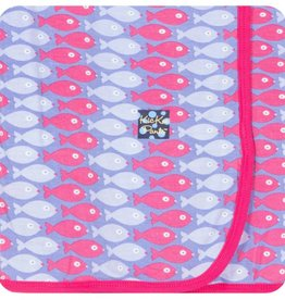 Kickee Pants Print Swaddling Blanket (Forget Me Not Piranha - One Size)