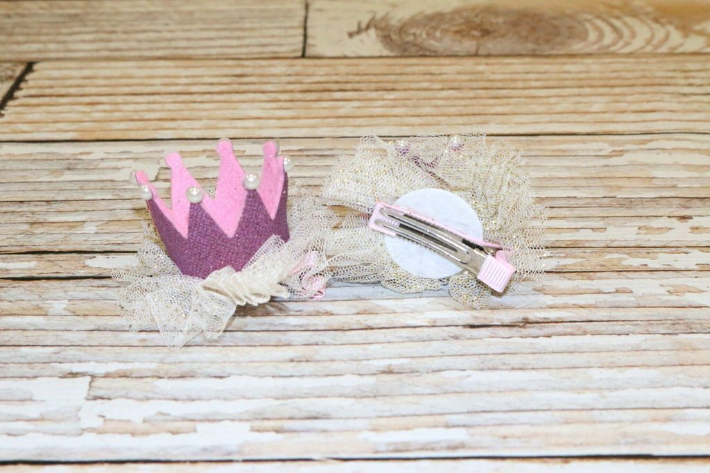 Lincoln&Lexi Crown Tulle Glitter Clips