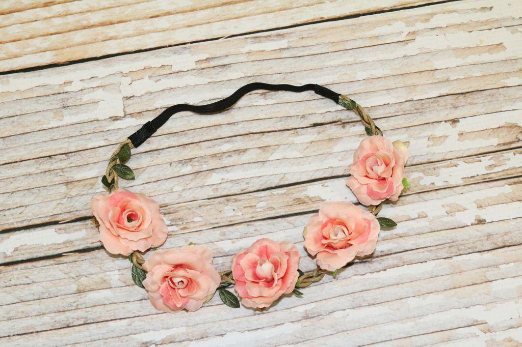 Lincoln&Lexi Bohemian Floral Headband Wreath.Coral