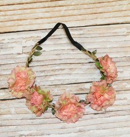 Lincoln&Lexi Bohemian Floral Headband Wreath.Dark Peach