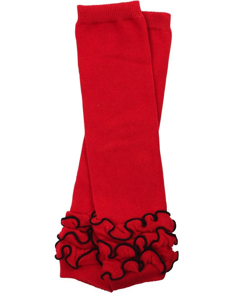 juDanzy Red Triple Ruffle Leg Warmers.OS(10 LBS-10+Years)
