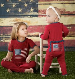 Kickee Pants Muffin Ruffle Coverall.American Flag