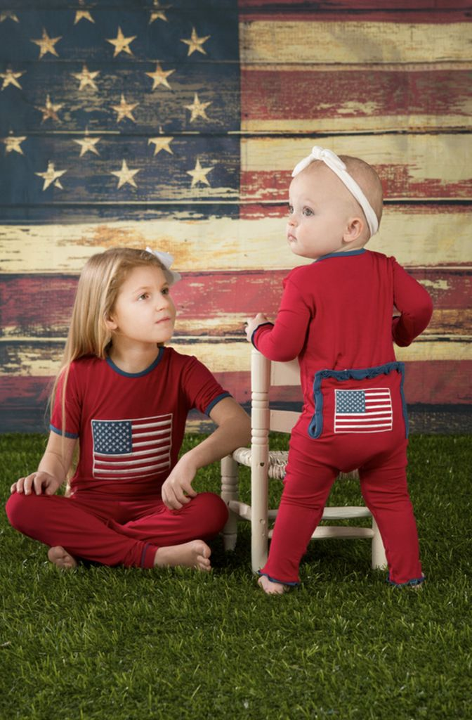 Kickee Pants Muffin Ruffle Coverall.American Flag