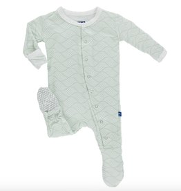 Kickee Pants Footie.Aloe Water Lattice.3-6M