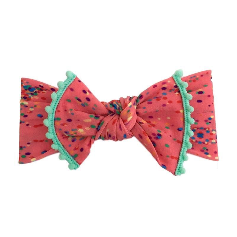 Baby Bling Trimmed Printed Knot (Confetti + Mint)