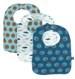 Kickee Pants Bib Set (Glacier Cookie, Boy Dino Print & Twilight Fishbowl - One Size)