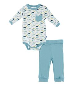 Kickee Pants Long Sleeve Pocket One Piece & Pant Outfit Set