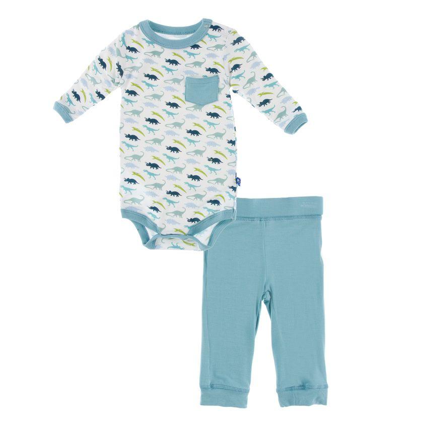 Kickee Pants Long Sleeve Pocket One Piece & Pant Outfit Set