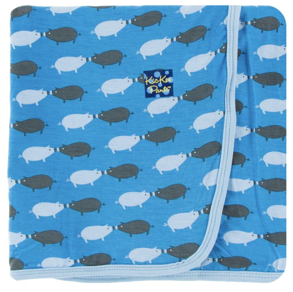 Kickee Pants Print Swaddling Blanket (River Pig)
