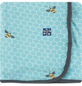 Kickee Pants Print Swaddling Blanket (Glacier Honeycomb)