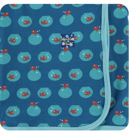 Kickee Pants Print Swaddling Blanket (Twilight Fishbowl)