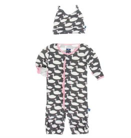 Kickee Pants Ruffle Layette Gown Converter and Knot Hat Set