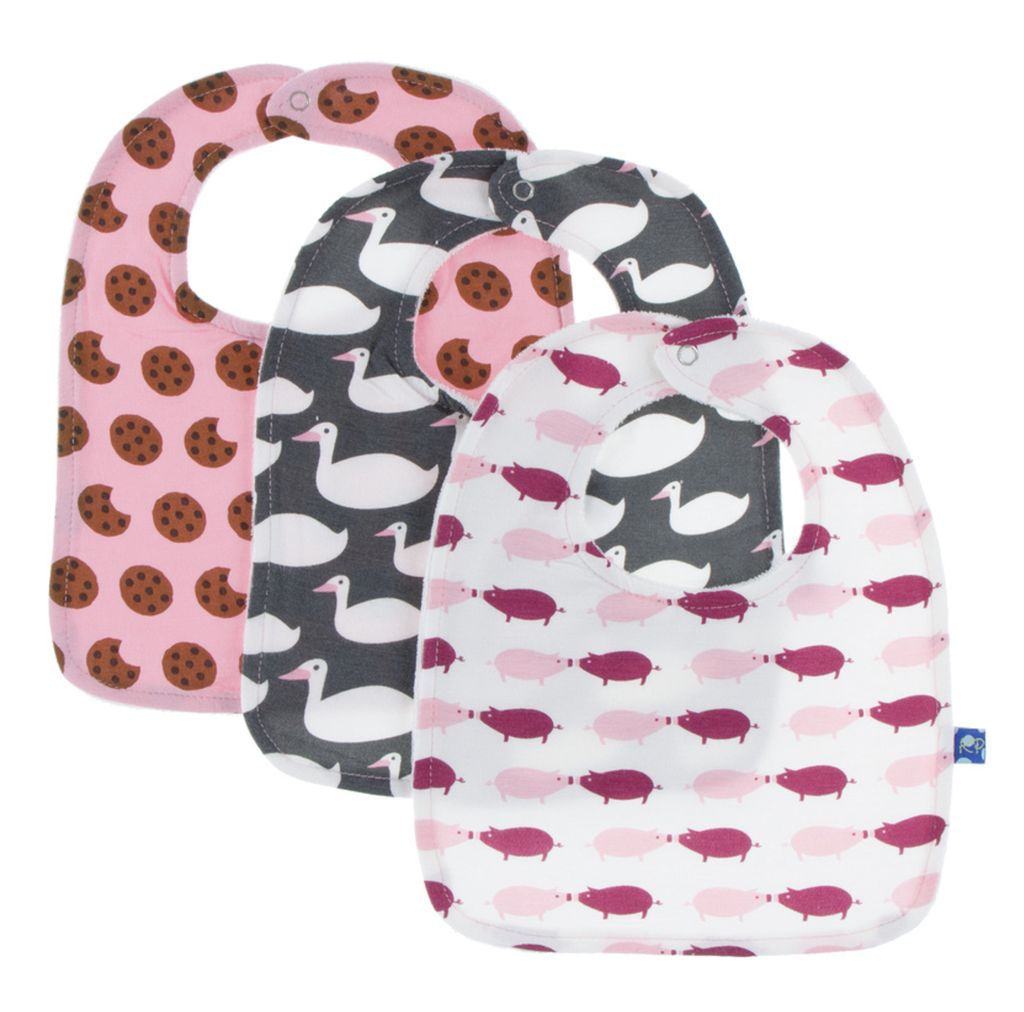 Kickee Pants Bib Set (Set of 3) (Lotus Cookie, Stone Geese & Natural Pig - One Size)