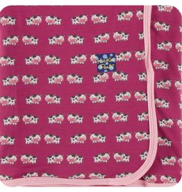 Kickee Pants Print Swaddling Blanket (Berry Cow - One Size)
