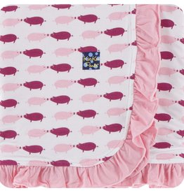 Kickee Pants Print Ruffle Stroller Blanket (Natural Pig - One Size)