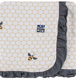 Kickee Pants Print Ruffle Stroller Blanket (Natural Honeycomb - One Size)