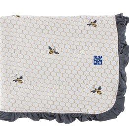 Kickee Pants Print Ruffle Toddler Blanket (Natural Honeycomb - One Size)