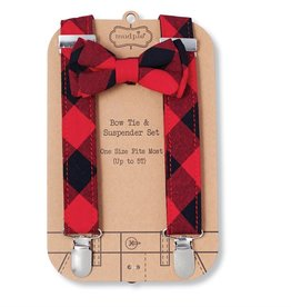 Mud Pie BUFFALO CHECK SUSPENDER SET