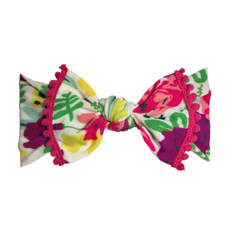 Baby Bling Trimmed Printed Knot (White Pop Floral + Hot Pink)