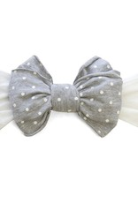 Baby Bling Jersey Bow (White/Grey Dot)