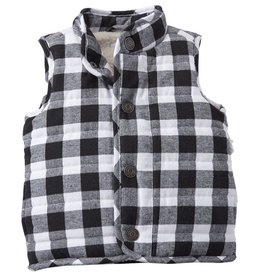 Mud Pie BLACK & WHITE BUFFALO CHECK VEST