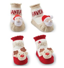 Mud Pie SANTA & REINDEER RATTLE TOE SOCKS