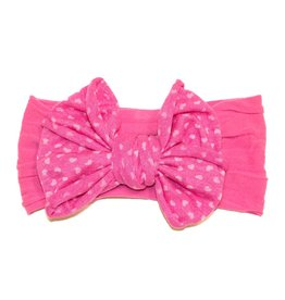 Baby Bling Jersey Bow (Hot Pink Hearts)