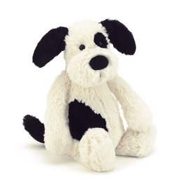 JellyCat Basful Black & Cream Puppy Medium 12""