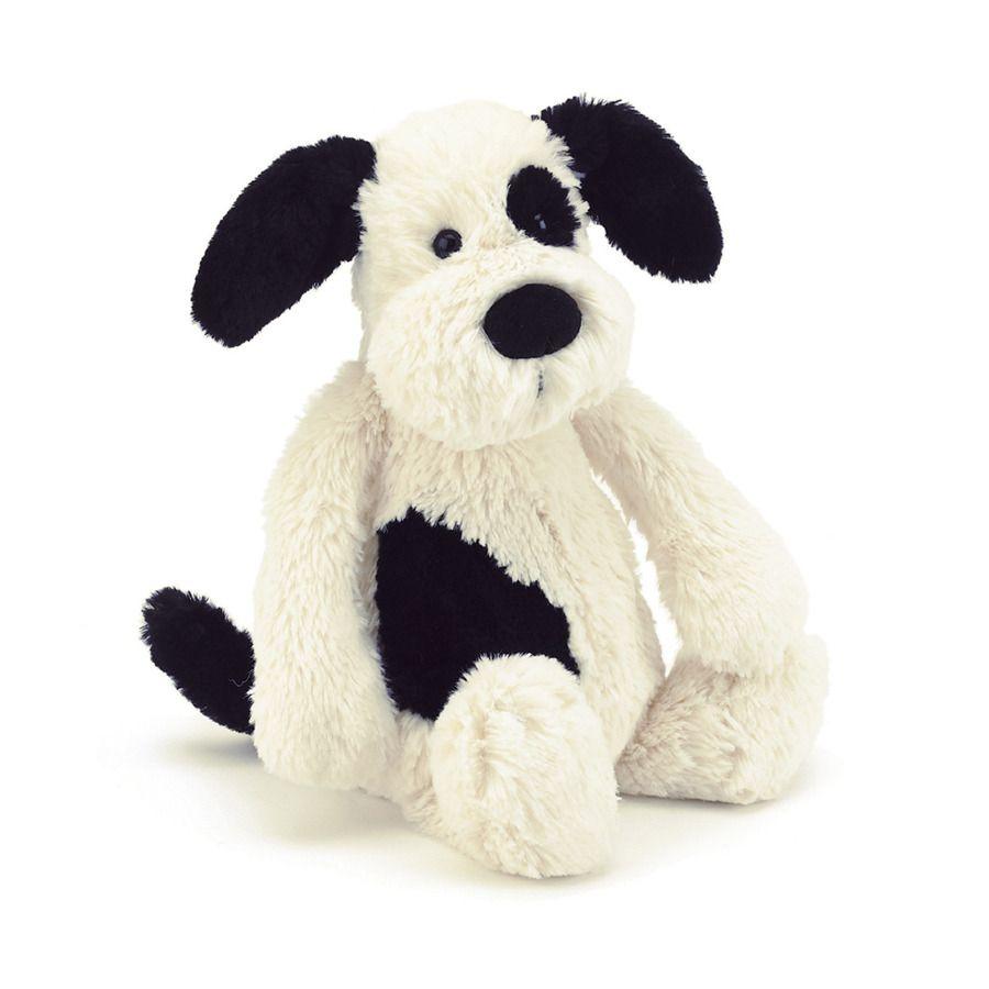 "JellyCat Basful Black & Cream Puppy Medium 12"""