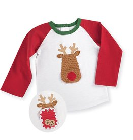Mud Pie Open Mouth Reindeer Long Sleeve T Shirt.S(12-18M)