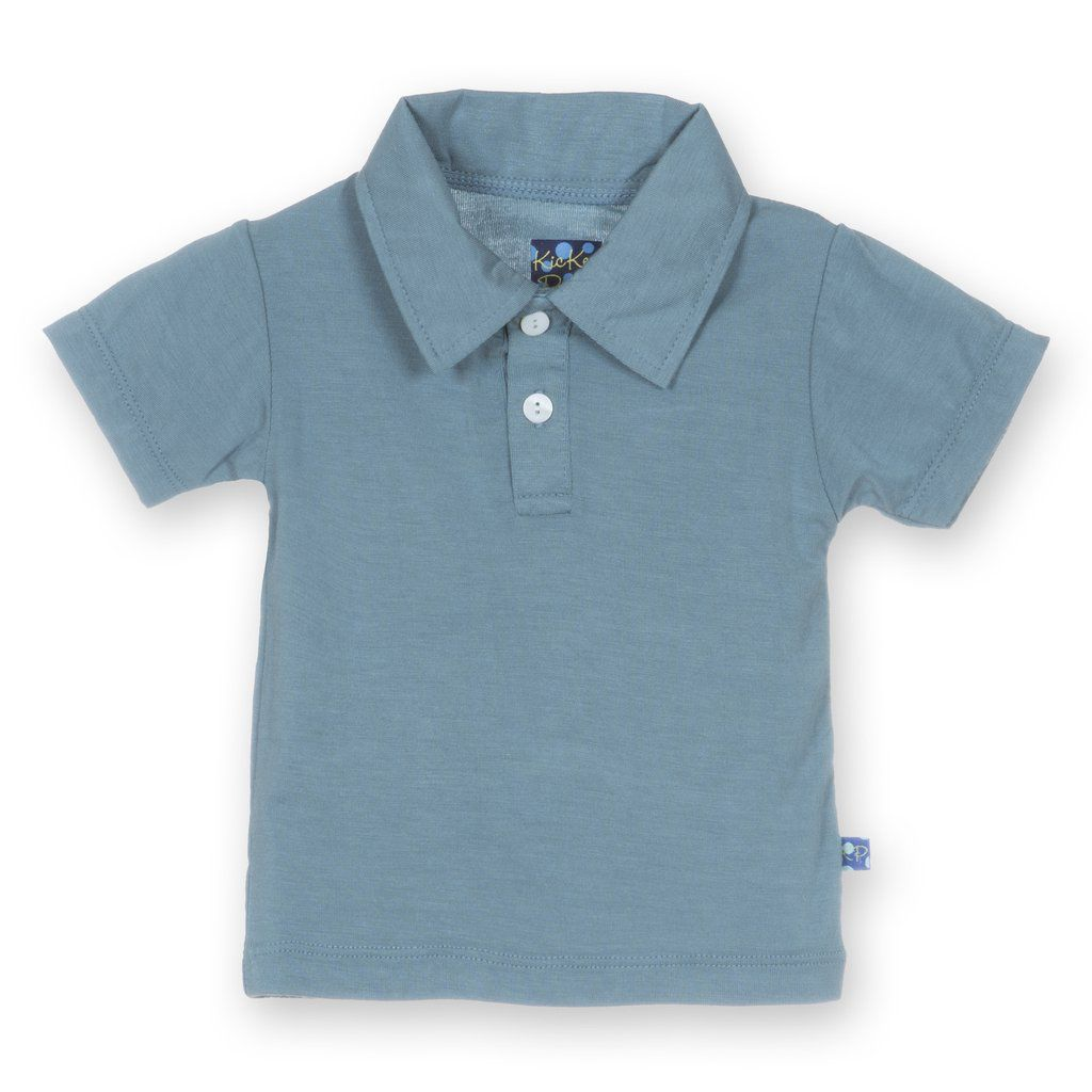 Kickee Pants Polo Shirt. Dusty Sky 2T