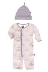 Kickee Pants Print Ruffle Layette Gown Converter and Knot Hat Set