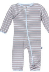 Kickee Pants Print Coverall with Zipper (Boy Parisian Stripe