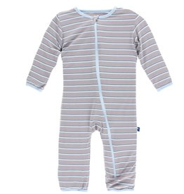 Kickee Pants Print Coverall with Zipper (Boy Parisian Stripe