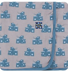 Kickee Pants Print Swaddling Blanket Feather Mouse and Cheese