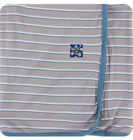 Kickee Pants Print Swaddling Blanket Boy Parisian Stripe