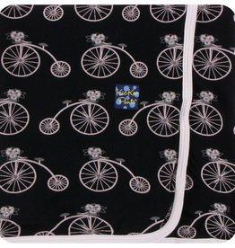 Kickee Pants Print Swaddling Blanket Girl Midnight Bikes