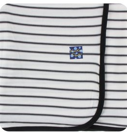 Kickee Pants Print Swaddling Blanket Neutral Parisian Stripe