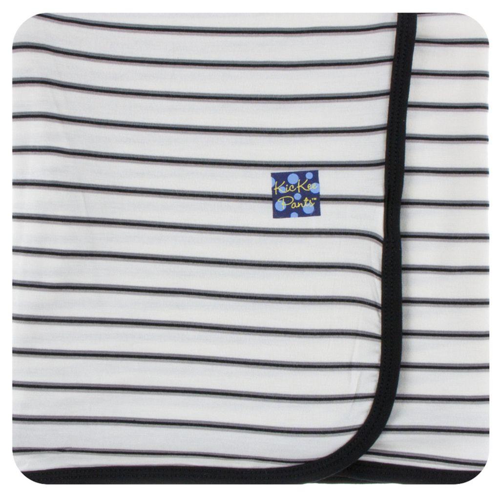 Kickee Pants Print Swaddling Blanket Neutral Parisian Stripe