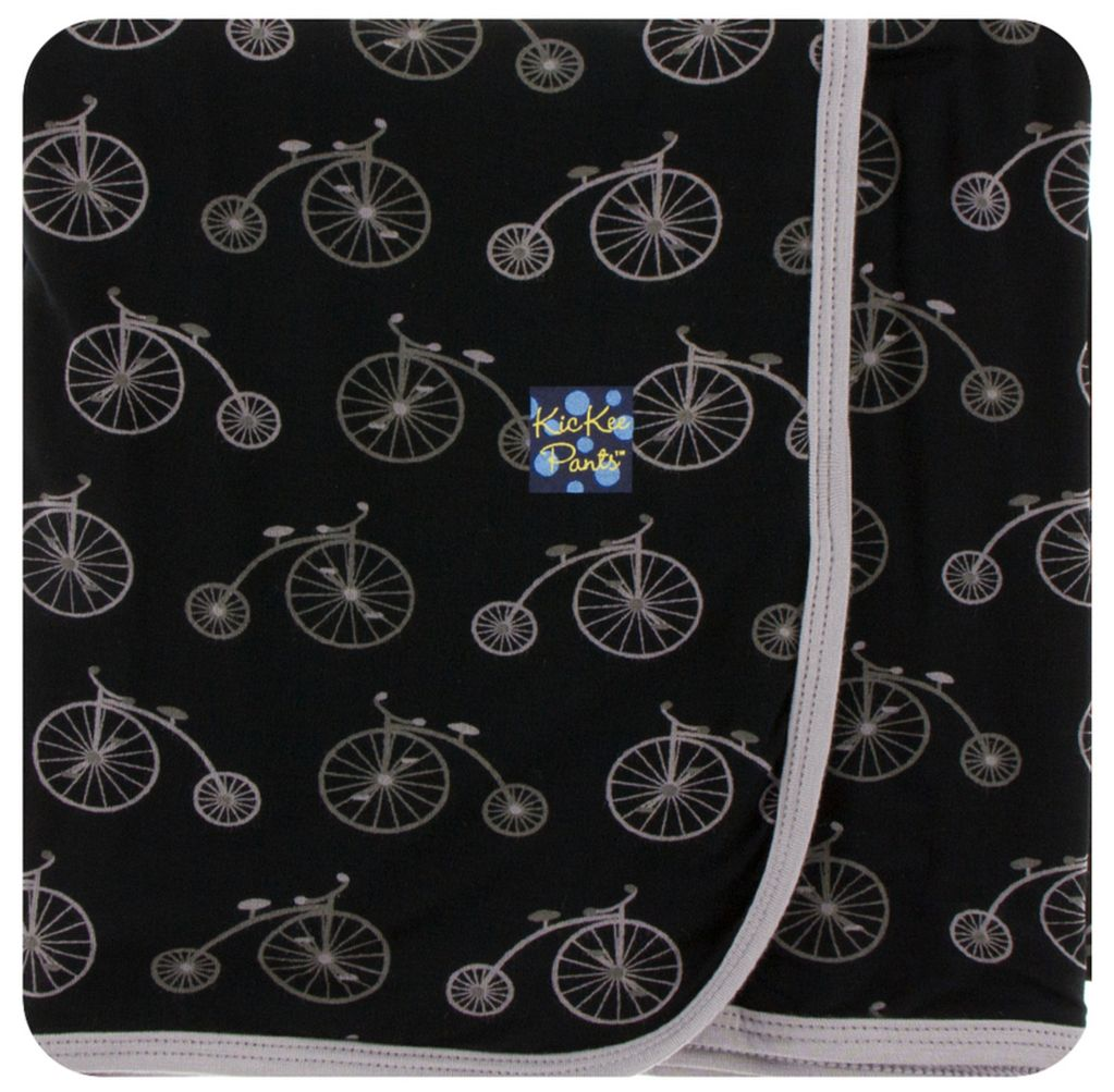 Kickee Pants Print Swaddling Blanket Boy Midnight Bikes
