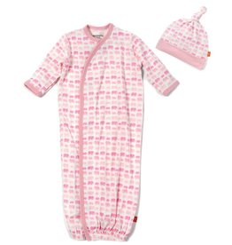 Magnificent Baby Pink Dancing Elephants Modal Magnetic Gown Set.NB-3M