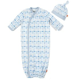 Magnificent Baby Blue Dancing Elephants Modal Magnetic Gown Set.NB-3M