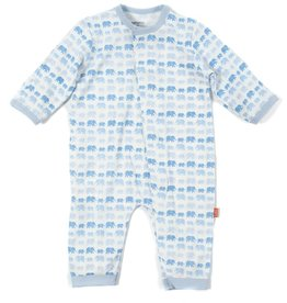 Magnificent Baby Blue Dancing Elephants Modal Magnetic Coverall