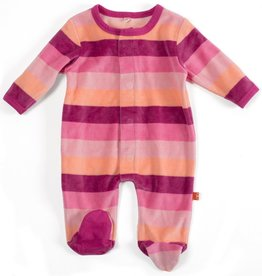 Magnificent Baby Harvest Berry Velour Magnetic Footie