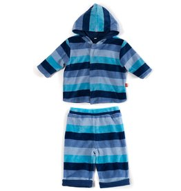 Magnificent Baby Blue Multi Stripe Velour Magnetic Hoodie Set