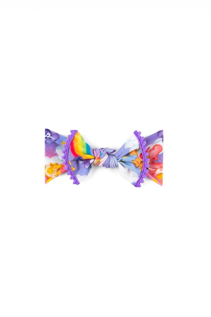 Baby Bling Care Bears Trimmed Printed Knot (Lilac Rainbow)